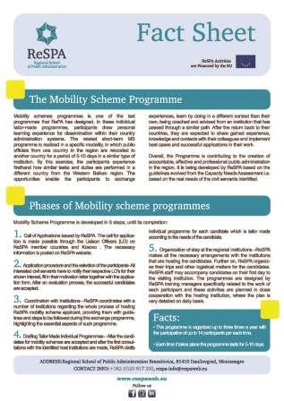 Mobility Programmes Fact Sheet