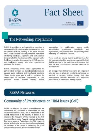 ReSPA Networking Fact Sheet