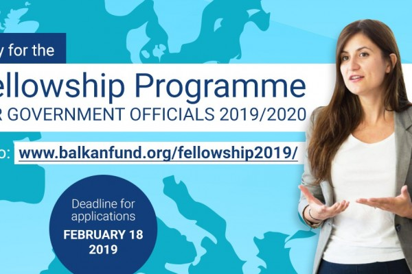 European Fund for the Balkans: Call for Applications – Fellowship Programme for Government Officials 2019/2020.